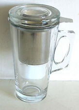 """New listing 3 Piece Loose Leaf Tea Infuser Metal and Heavy Glass with Handle 6.5"""" Free Sh"""
