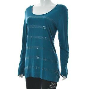 Calida Bodywear Comfort Womens Boat Neck Metallic Spot Stripes Long Sleeve Top M