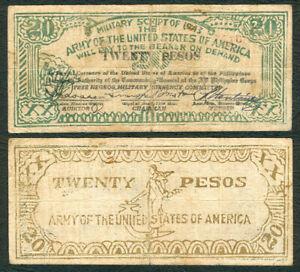 #S714  20 Pesos Philippine Free Negros  US ARMY  Military  WW2 Banknote