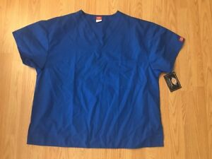 New Dickies EveryDay Scrubs 1 Front Pocket V-neck Scrub Top ROYAL SIZE Large