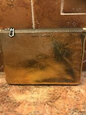 Marc Jacobs Neiman Marcus for Target Gold Leather Zip Clutch Makeup Bag NEW!
