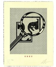 OBEY Signed Cream Magnifying Glass Lithograph free shipping in hand