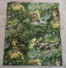 FLEECE FABRIC - Juvenile Print - Scenes of Bears Moose and Wolves - 1 yd 27""