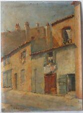 Tableau Peinture Ancienne Huile signé - Paysage, St-Tropez, Village, Maison