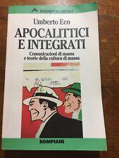 Umberto Eco apocalittici e integrati Bompiani 1999 Comunicazione Di Massa Teoria