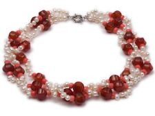 Three-strand White Freshwater Pearl Necklace Dotted with Red Agate Coral  Beads