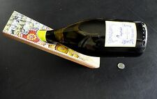NEW Wooden Wine BOTTLE HOLDER Aboriginal Boomiri Australia Made Marked Kangaroo!