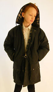 New Wax Jacket Green Kids Cotton Padded Coat Age 4 5 6 7 8 9 10 11 12 13 14 15
