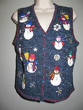 Snowman Sweater Vest Petite S Blue Designers Originals Studio