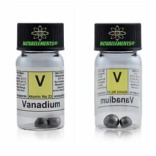 >~2g Vanadium metal element 23 pellets 99,99%, in labeled glass vial