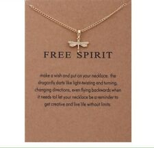 Dragonfly Free Spirit Gold Style Wish  Necklace Unique