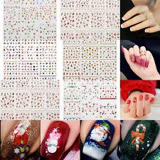 12 NAGELSTICKER 3D Nail Art Schneeflocke Fingernagel Weihnachten Aufkleber süß