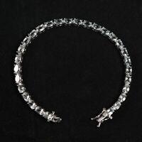 6x4mm Oval Natural White Topaz Gemstone 925 Sterling Silver Tennis Bracelet