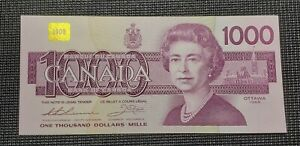 1988 Canada $1000.00 Replacement BC-61aA EKX 0084808 Thiessen Crow Unc