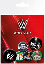 WWE LOGOS BUTTON BADGES (6) NEW CARDED BAGGED Official