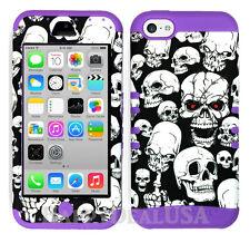 For Apple iPhone 5c KoolKase Hybrid Armor Silicone Cover Case - Skull 65