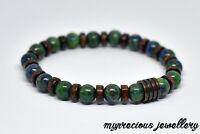 Natural Chrysocolla Wood Bronze Gemstone Bracelet Healing Reiki Chakra Stone UK