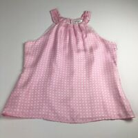 Skirtin Around Women's Sleeveless Blouse Tank Top 12 Pink White 100% Silk Preppy