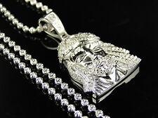 Argento Sterling Bianco Mini Vero Diamante gesù Ciondolo Con Catenina 0.60 KT