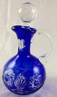 Victorian Cobalt Blue Cut Glass to Clear Pinwheel Star Pattern Oil Vinegar Cruet