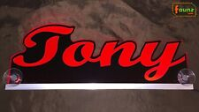 "LED LKW Trucker Leuchtschild Namensschild ""Tony"" oder Wunschname 12 24V rot"