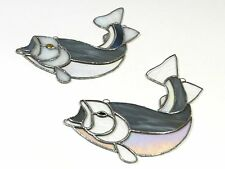Vintage Stained Glass Sun Catcher Trout Fish
