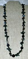 Beautiful Blue Green Glass Bead And Cord Necklace