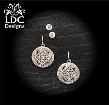 Silver Filigree Medallion / Clear Crystal Bling Stud Earrings Two-Pair Set