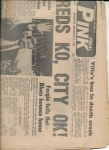 MANCHESTER EVENING NEWS PINK 8/11/1986  ALEX FERGUSON 1ST GAME AS UNITED MANAGER