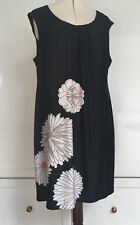 Estelle pretty black with print shift style tunic dress flowers work business 18