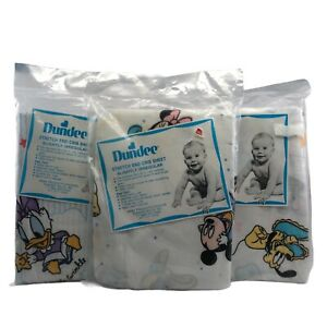 Vintage Dundee Disney Babies Mickey Minnie Mouse Donald Baby Fitted Crib Sheet
