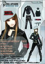 CC91 1/6 Clothing-Black Leather Biker Uniform set for HOT TOYS,CY COOL GIRL