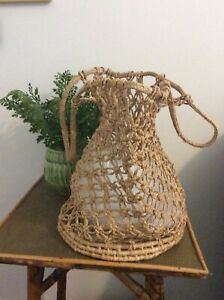 Vintage Natural Jute Straw  Duffle Drawstring Boho Festival Bag