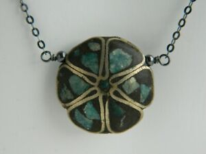 Art Deco Inlaid Turquoise Mosaic Bead & Oxidised 925 Sterling Silver Necklace