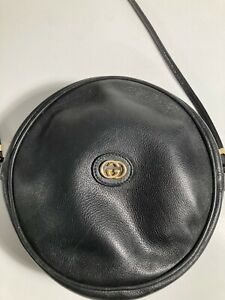 Vintage Gucci Black Leather Canteen Crossbody Bag