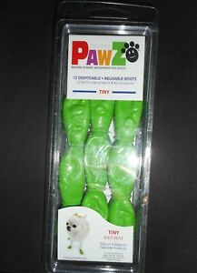 PAWZ Protex Reusable Rubber Dog Boots, Green, Size Tiny. 12 Pack