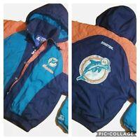Vintage 90s STARTER Miami Dolphins NFL Full Zip Teal Black Jacket Men's Sz M