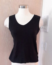 Susan Bristol Sleeveless Black V-neck Knit Top White Trim Detail Size Small