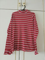 MARKS & SPENCER WOMENS RED BLACK WHITE STRIPED BLOUSE TOP SIZE 16 LONG SLEEVE