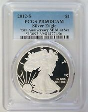 2012 S $1 Proof American Silver Eagle 75th Anniversary Set SF Mint PCGS PR69DCAM
