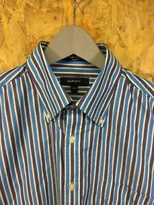 GANT, Mens Size M, Blue Striped, LS Reg Fit Shirt,*EX COND*