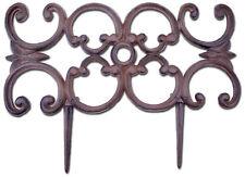 "Decorative Edging Ornate Design Brown Cast Iron Border Fencing 16.5"" Pair Of 2 N"