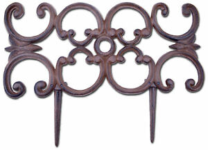 "Decorative Edging Ornate Design Brown Cast Iron Border Fencing 16.5"" Pair Of 2 N"