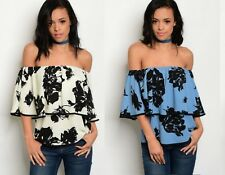 FLORAL OFF THE SHOULDER FLOUNCE GYPSY BARDOT BOHO PARTY TOP SIZE 10-16