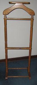 Vintage Solid Oak Wooden Suit Clothing Rack Valet Butler