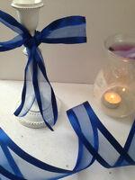 ROYAL BLUE Edgey & Elegant Organza Smooth Satin Edge  - Luxury Wire Edged Ribbon