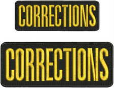 CORRECTIONS embroidery patches 3x8 and 2x6 hook on back gold letters
