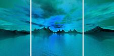 Multi 3 Panel Set Triple Canvas Picture Aloha Light Teal Green Wall Art Print