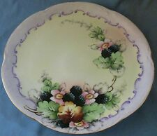 ANTIQUE HP PORCELAIN BLACKBERRY PATTERN CHARGER HUTSCHENREUTHER BAVARIA 1887