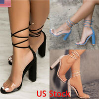Womens Lace Up Block High Heel Ankle Tie Wrap Strappy Ladies Sandals Shoes Size
